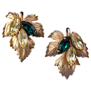 Napier Goldtone Grape Leaf Earrings with Navettes
