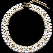 Monet Geometric White on Goldtone Necklace