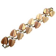 1950s Coro Thermoplastic Molded Leaf Bracelet in Shades of Beige