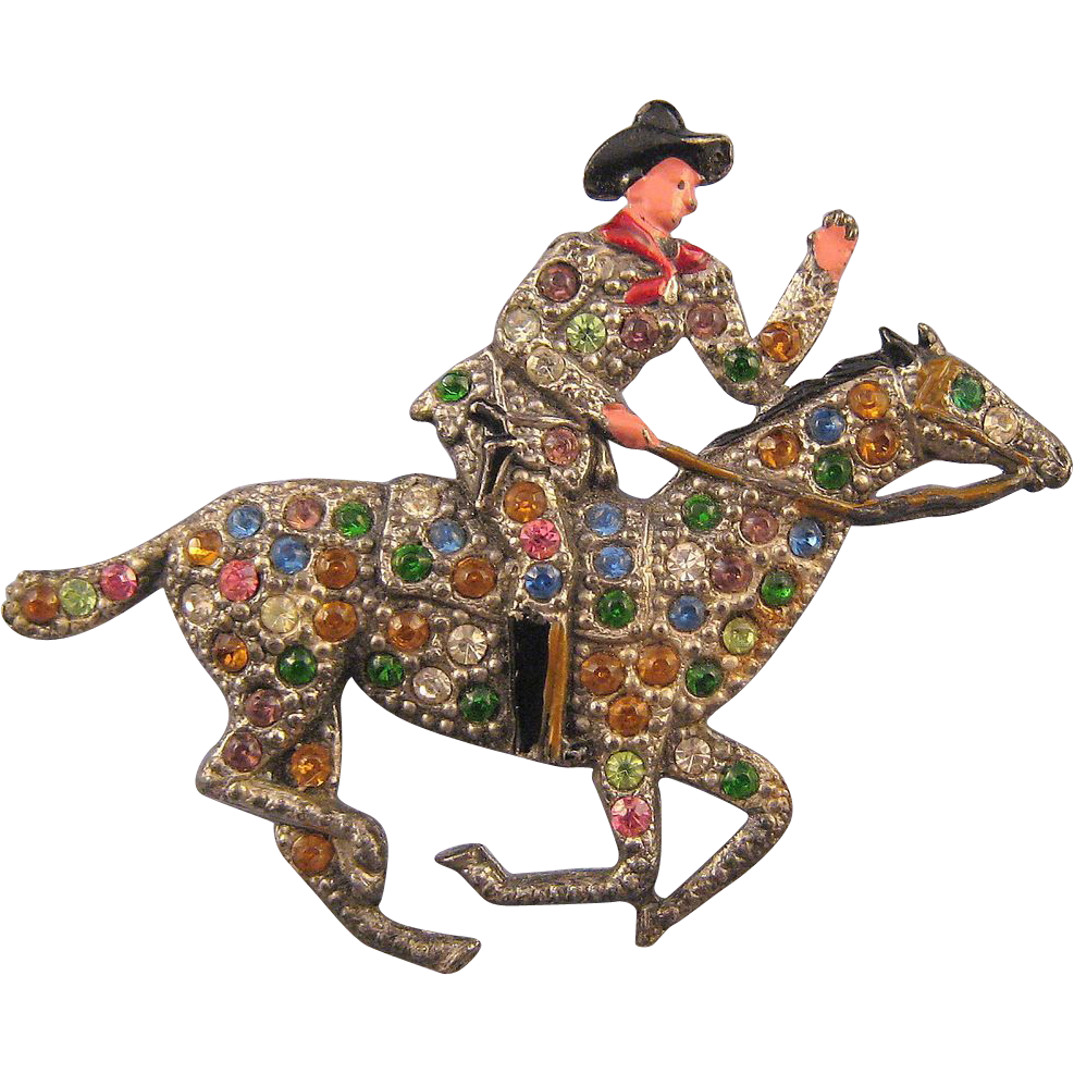 Multicolor Rhinestone and Enamel Cowboy and Rider Figural Pin