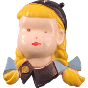 Plastic Brownie Scout Figural Pin