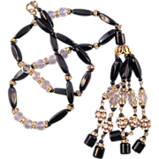 Long Black Glass and Crystal Bead Tassel Necklace - Rhinestone Rondelles