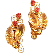 Scrollwork and Ripple Navette Rhinestone Earrings - Yellows and Reds Set in Goldtone