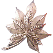 Coro Tailored Textured Double Leaf Brooch in Bright Silvertone