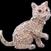 Rhinestone Encrusted Pell Kitty Cat Figural Brooch with Red Rhinestone Eyes