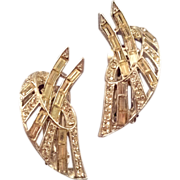 Rhodium Plated Stylized Leaf Rhinestone Earrings - Rounds and Baguettes