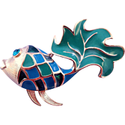 Vintage Blue and Green Enameled 'Harlequin' Trifari Fish Brooch - 1970s