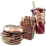 Vintage Danecraft Burger Fries and Shake Brooch