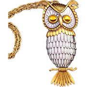 Goldtone, Pewter and Silvertone Owl Pendant - Nicely Detailed