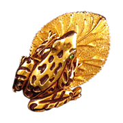 Florenza Goldtone Frog on a Lily Pad Pin