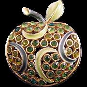 Florenza Green Apple Pin - Enamel and Rhinestones