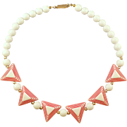 1960s White and Red Plastic Triangle Bead Choker Necklace