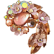 Kramer Pink and Lavender 'Comma' Rhinestone Pin - Enameled Flowers and Iridescent Foil Teardrop