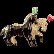 1940s Enamel and Rhinestone Figural Circus Horses Brooch