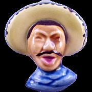 California Pottery Elzac Style Ceramic Mexican Man Brooch