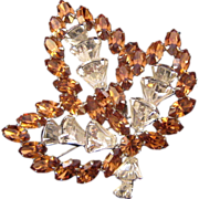 Vendome Leaf-Shaped Pin with Navettes and Keystone Rhinestones