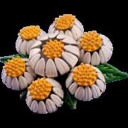 1960s Enameled Multi-Blossom Daisy Brooch
