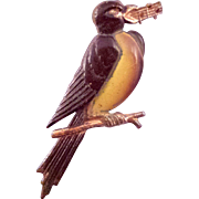 Brown and Golden Songbird Brooch with Musical Notes