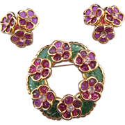 Coro Pink and Green Molded Plastic Flower Circle Pin and Earrings