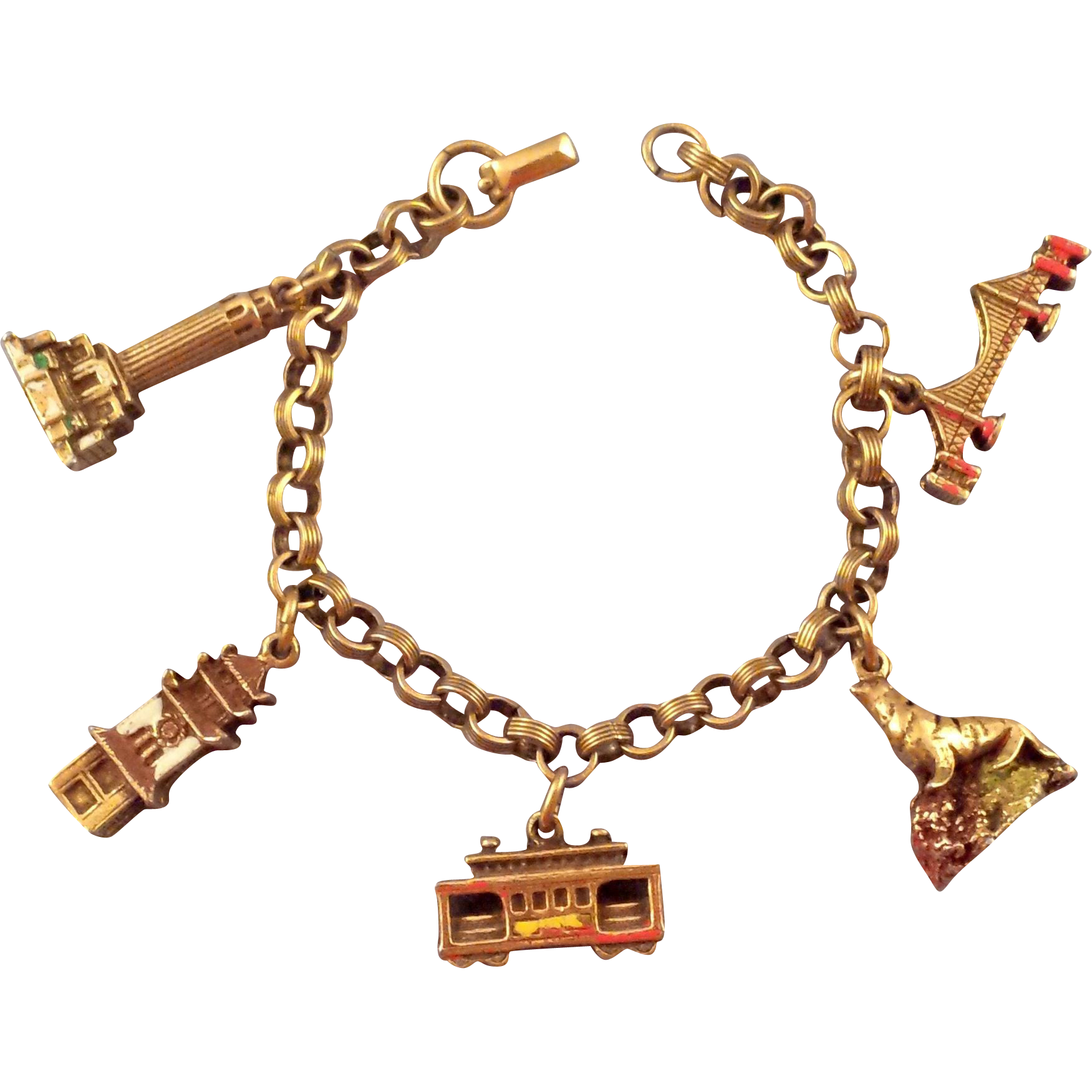 Coro Goldtone San Francisco Charm Bracelet with Enameled Charms