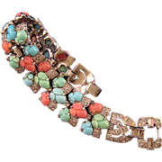 1930s Trifari 'KTF' Pastel Fruit Salad Triple Row Bracelet