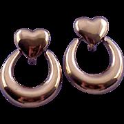 Vintage Monet Heart Shaped Doorknocker Earrings in Goldtone - Special Friction Clip
