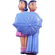 Bashful Courting Boy and Girl with Twirling Umbrella Brooch - Book Reference