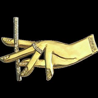 Vintage Huge Goldtone Hand Holding a Cigarette Brooch