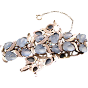 1950s Trifari Silvertone and Pastel Blue 'Fruit Salad' Bracelet