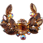 Rhinestone Laurel Wreath Style Pin in Brown Autumn Tones