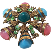 Modified Delizza and Elster / Juliana Snowflake-Shaped Pendant Brooch with Teal Cabochon Center