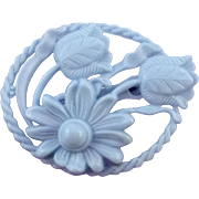 Vintage Light Blue Plastic Oval Tulip and Daisy 'Cutout' Brooch