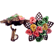 'Riot of Roses' Pastel Bouquet Star-Shaped Clip Earrings