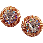 Vintage Woven Wire and Colored Rhinestone Button Clip Earrings - in Goldtone