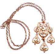 Trifari 1970s Ornate Articulated Filigree Pendant in Textured Goldtone