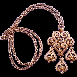 Trifari 1970s Ornate Articulated Filigree Pendant in Textured Goldtone
