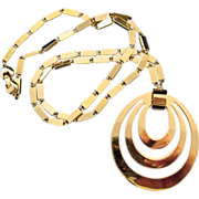 Monet 1966 'Tournee' Goldtone Pendant Necklace - Book Reference