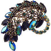 Blue AB Navette Rhinestone Leaf Pin with Daisy Flowers