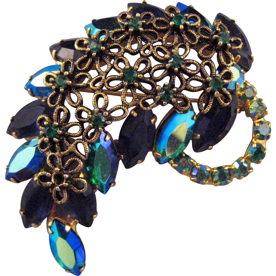 Blue AB Navette Rhinestone Leaf Pin with Daisy Flowers