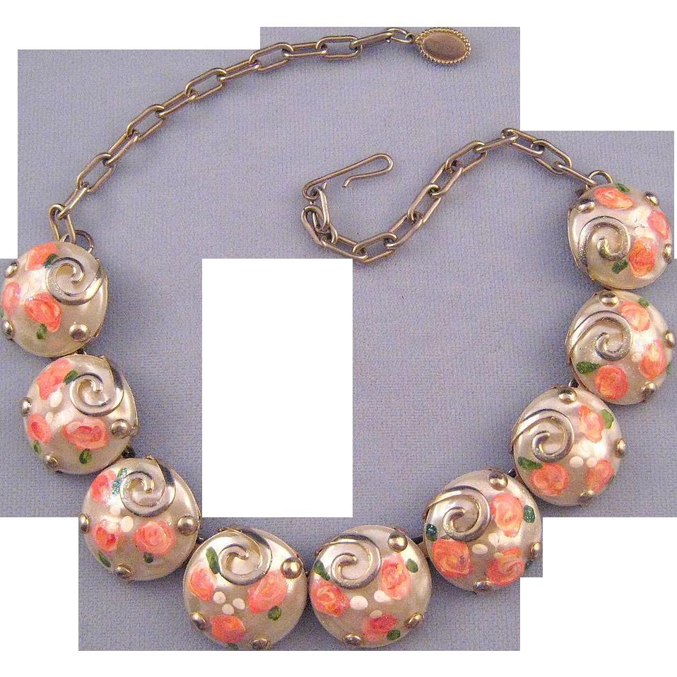 Plastic 'Wedding Cake' Style Cabochon Necklace - Unique