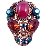 Shield Style Fur Clip with Faux Carnelian and Green and Amber Color Rhinestones