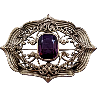 Antique Edwardian Brass Sash Brooch with Imitation Amethyst