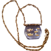 Lucite Goldfish Bowl Pendant Necklace with Goldtone Chain
