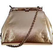 Vintage Harry Levine HL Clutch Evening Bag - Gold Metallic Faux Leather with Rope Chain