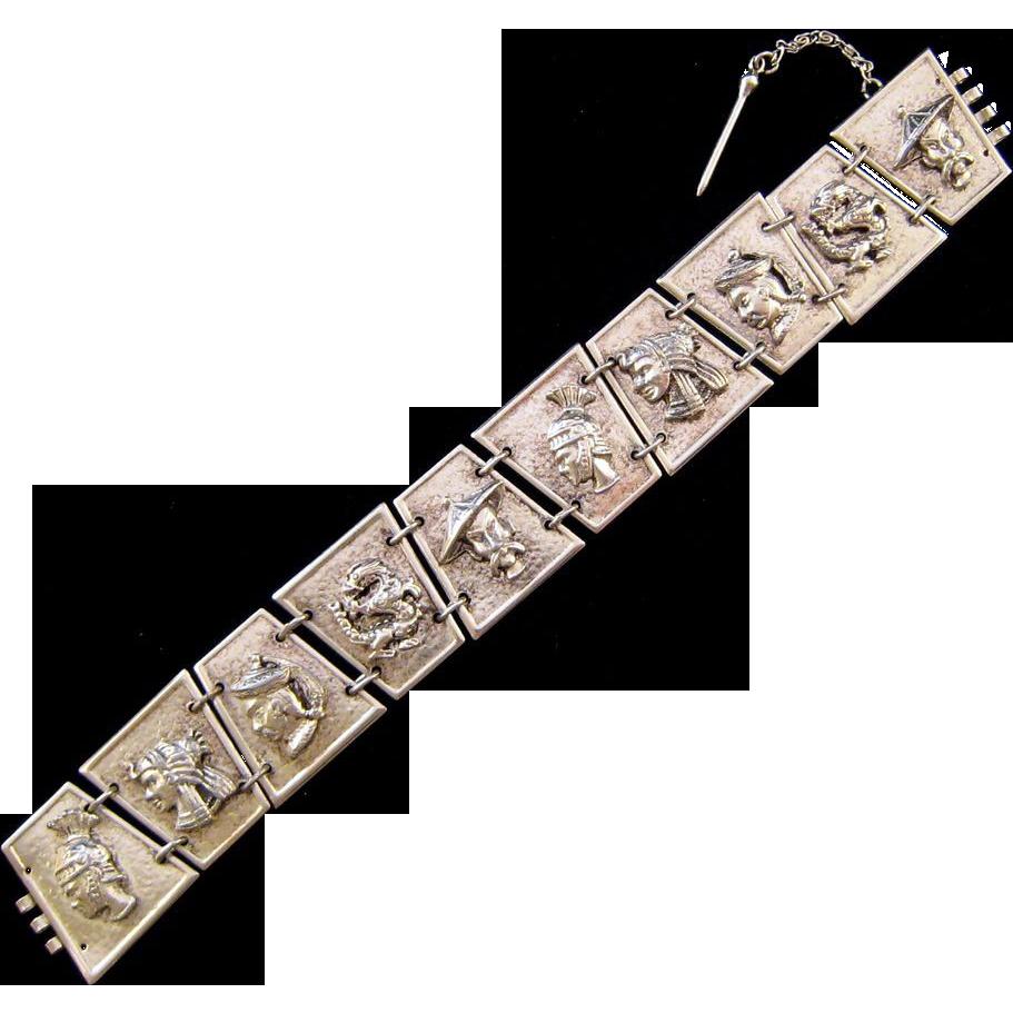 Silvertone Figural Faces Bracelet - Egyptian Roman and Asian