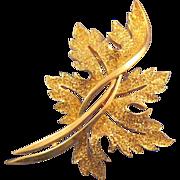 Trifari Textured Goldtone Leaf Brooch