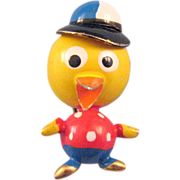 'Puffed' Figural Miniature Duck in a Baseball Cap Pin