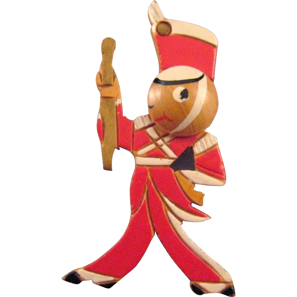 Carved Wooden Drum Major Figural Pin