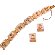 Pearly Lucite Bracelet and Earrings with Damascene Style Designs