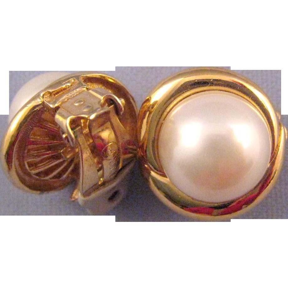 Ciner Faux Pearl Earrings in a Goldtone Swirl Setting